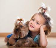 Gullig liten flicka med den yorkshire terriern inomhus Arkivbild