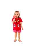 Gullig liten flicka med en klubba Royaltyfri Fotografi