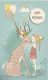 Gullig liten flicka med hare och hjortar stock illustrationer