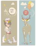 Gullig liten flicka med hare och hjortar royaltyfri illustrationer