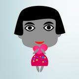 Gullig liten flicka med hjärta Royaltyfri Illustrationer