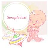 Gullig liten flicka med karusellen, pinne-överkant stock illustrationer