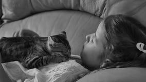 Gullig liten flicka med katten på soffan arkivfilmer