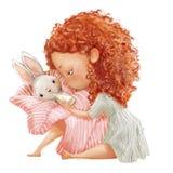 Gullig liten flicka med korgen av hare royaltyfria foton