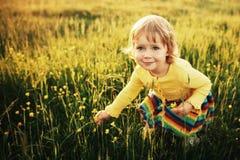 Gullig liten flicka på äng Royaltyfri Foto