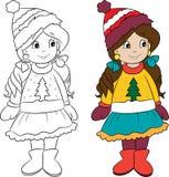 Gullig liten flicka, påklädd för vinter, i färg och i svartvitt, för barns färga bok royaltyfri illustrationer