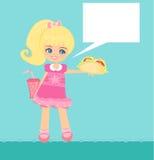 gullig liten flicka som äter smörgåsen Arkivbilder