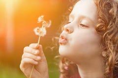 Gullig liten flicka som blåser maskrosen som tonar instagramfiltret Royaltyfri Foto