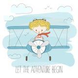 Gullig liten flicka som flyger en nivå på himmel Hand dragen tecknad filmvektorillustration Låt affärsföretaget börja Fantasisomm Royaltyfria Bilder