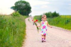 Gullig liten flicka som går på vägen royaltyfri foto