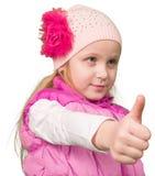 Gullig liten flicka som ok visar Arkivfoton