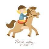 Gullig liten flicka som rider en häst vektor illustrationer