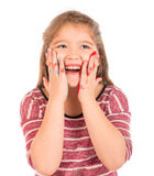 Gullig liten flicka som spelar med målarfärg Royaltyfri Fotografi