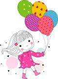 Gullig liten flickaspring med ballonger Arkivfoton