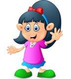Gullig liten flickatecknad film Fotografering för Bildbyråer