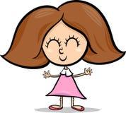 Gullig liten flickatecknad filmillustration Royaltyfri Bild