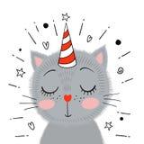Gullig liten grå kattunge också vektor för coreldrawillustration stock illustrationer