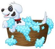 Gullig liten hund som tar ett bad på en vit bakgrund royaltyfri illustrationer