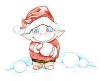 Gullig liten julälva Arkivbild