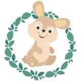 Gullig liten kanin med den lövrika kransen vektor illustrationer