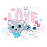 Gullig liten kattvektorillustration Förälskelse Cat Cartoon Vector Т-skjorta design Arkivfoton