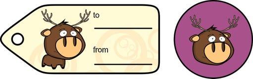 Gullig liten knubbig klistermärke för giftcard för hjorttecknad filmexprression Royaltyfria Foton