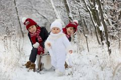 Gullig liten litet barnpojke och hans äldre bröder som utomhus spelar med snö på en vinterdag royaltyfria bilder