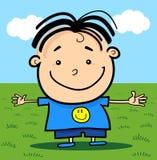 Gullig liten lycklig pojke för tecknad film stock illustrationer