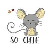 Gullig liten mus på en vit bakgrund stock illustrationer
