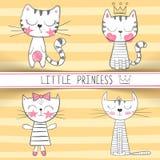 Gullig liten prinsessa - katttecken vektor illustrationer