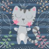 Gullig liten prinsessa - katttecken royaltyfri illustrationer