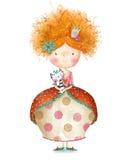 Gullig liten prinsessa med katten liten princess vektor för illustration för hälsning för födelsedagkort eps10 Arkivbilder