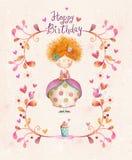 Gullig liten prinsessa med kopp te i blommor, hjärtor, fåglar Royaltyfri Bild