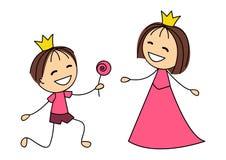 Gullig liten prinsessa med prins Royaltyfria Bilder