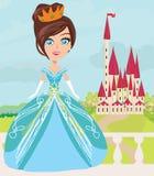Gullig liten prinsessa och en härlig slott Fotografering för Bildbyråer