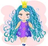 Gullig liten prinsessaflicka Modeillustration för ungar royaltyfri illustrationer