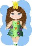 Gullig liten prinsessaflicka Modeillustration för ungar vektor illustrationer