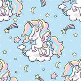 Gullig liten regnbågeenhörning seamless modell royaltyfri illustrationer