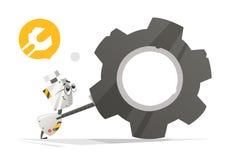 Gullig liten robot och stort kugghjul Royaltyfri Bild