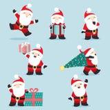 Gullig liten Santa Claus juluppsättning 3 vektor illustrationer