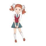 gullig liten schoolgirl stock illustrationer