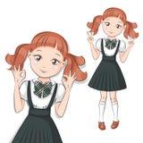 gullig liten schoolgirl royaltyfri illustrationer