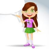Gullig liten schoolgirl med anförandebubblan för text stock illustrationer