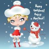 Gullig liten tecknad filmflicka för jul med snögubben lyckligt nytt år för kort Teckendesign Royaltyfri Bild