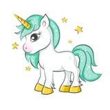 gullig liten unicorn vektor illustrationer