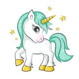 gullig liten unicorn stock illustrationer