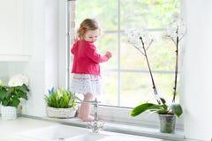 Gullig litet barnflicka som ut håller ögonen på fönstret i vitt kök arkivbild
