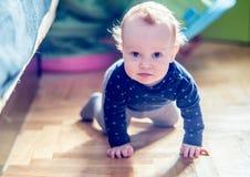 Gullig litet barnpojke i posera för rum royaltyfri foto