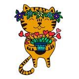 Gullig ljust rödbrun katt med en krans av blommor på hans huvud Fotografering för Bildbyråer