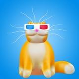Gullig ljust rödbrun stereoskopisk katt Rolig gladlynt illustration 3d vektor illustrationer
